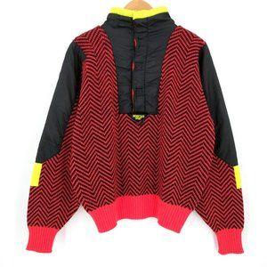 Vintage Mountain Goat Wool Nylon Ski Sweater 80s L